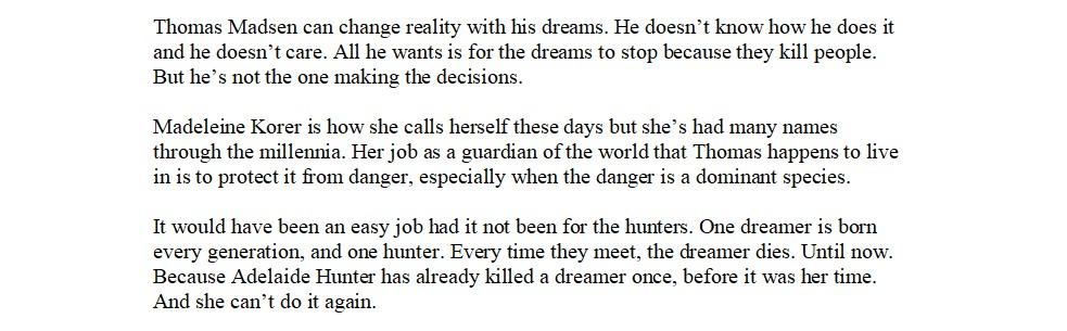 The Dreamer blurb